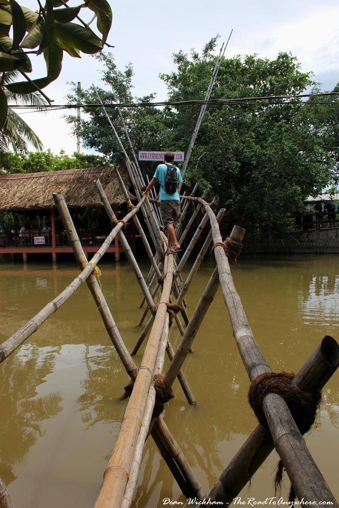Bamboo footbridge in the Mekong Delta, Vietnam