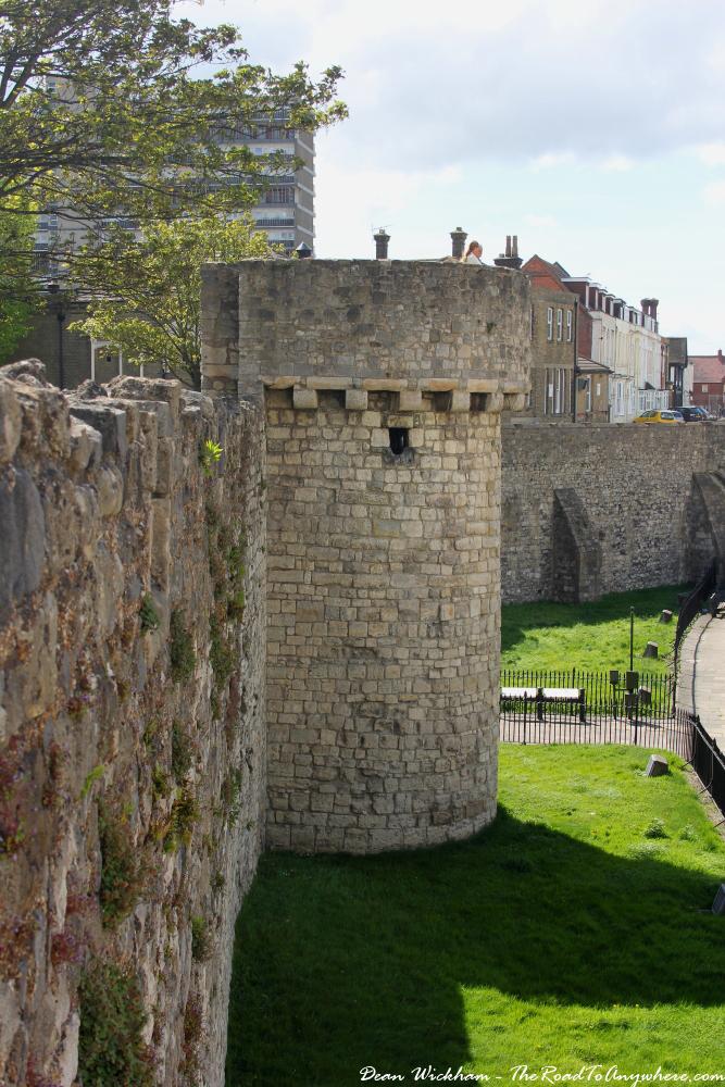 Walking the city walls in Southampton, England