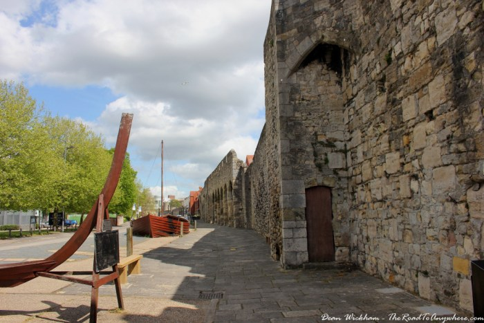 Old city walls in Southampton, England