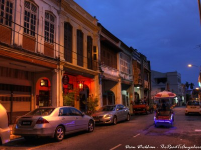 Trishaw at night in George Town, Malaysia