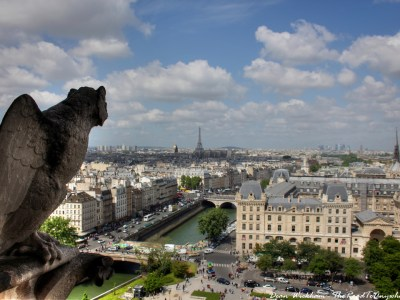 A grotesque looks out over Paris from Notre Dame Cathedral