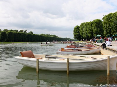 Boats on the Grand Canal in Chateau Versailles, France