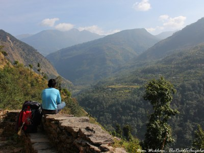 A porter resting on the Bhandar to Sete trek in Nepal