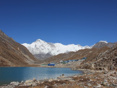 View of Gokyo village and Cho Oyu in Nepal