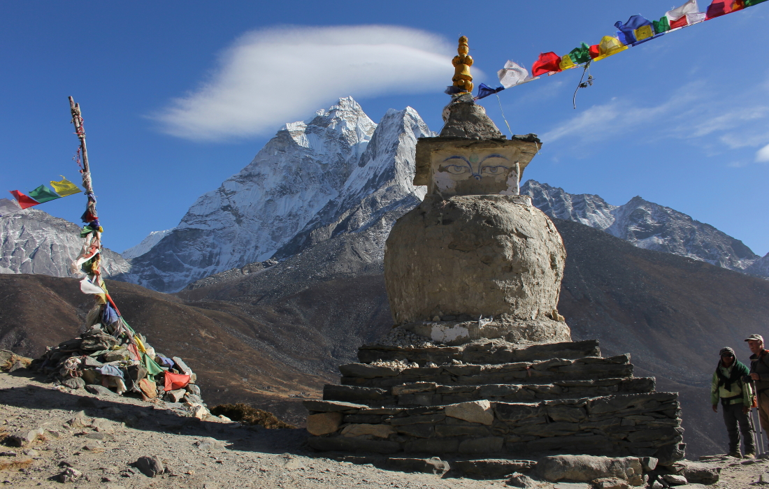 Chorten on the ridge above Dingboche, Nepal