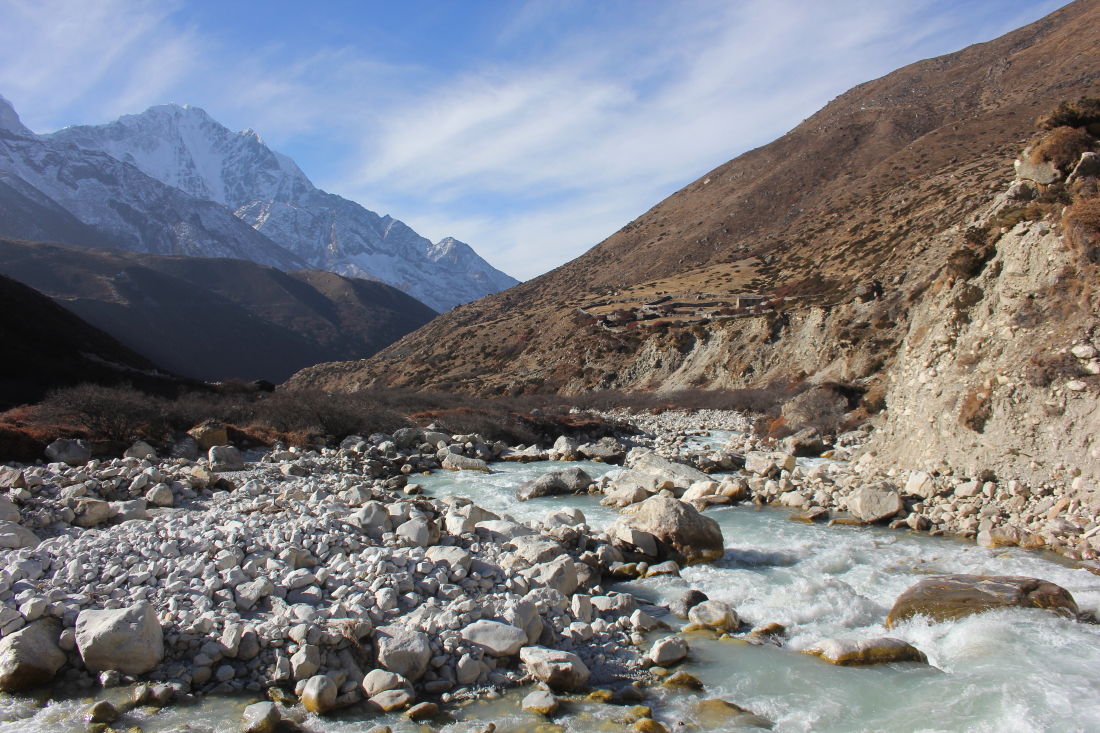 Crossing the Khumbu Khola in Nepal