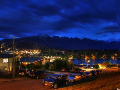 Queenstown and the Remarkables at night in New Zealand