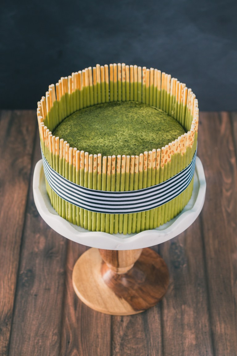 The Road to Honey's Most Popular Recipes of 2016 - Matcha Pocky Layer Cake with Matcha Mousse and a Matcha Buttercream