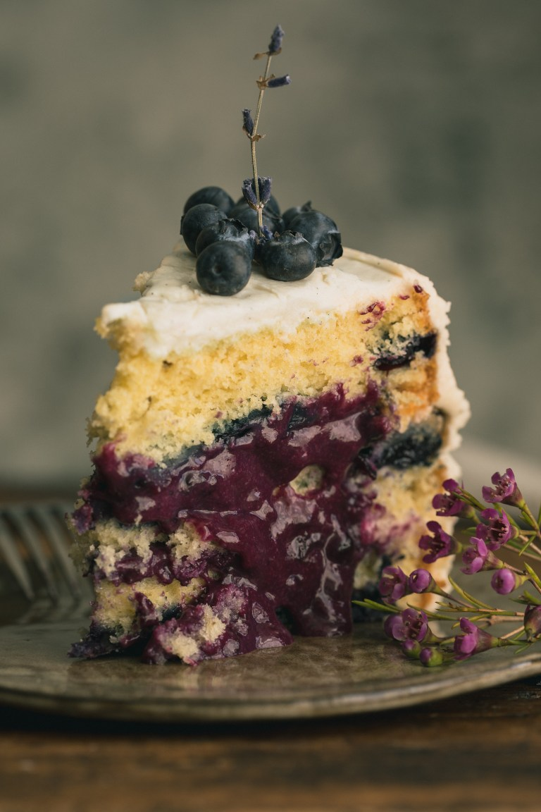 Lavender Blueberry Cake with Cream Cheese Frosting - 'From the silky blueberry curd to the tangy blueberry and raspberry sauce, this Lavender Blueberry Cake is loaded with fresh blueberries, then topped with a lusciously sweet cream cheese frosting. It's the perfect ending for all your sunshine-y summer days. Click for recipe.