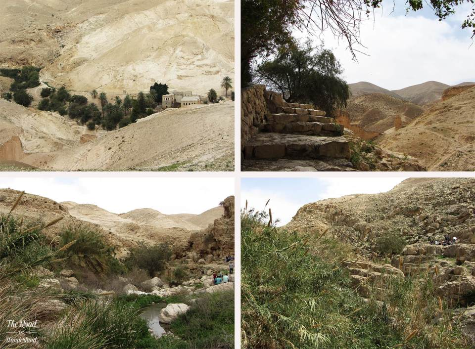 Images of the river running along the valley floor at Wadi Qelt