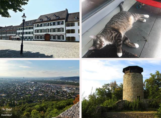 2018 Travel Review: Images from Basel & Muttenz, Switzerland – Cathedral Square in Basel, Chorri with the dead dragonfly, the final castle at Muttenz, and view from the top