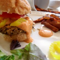 Eggplant Veggie Burgers with Roasted Red Pepper Aioli