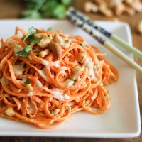 Spiralized Carrot Pasta with Ginger-Lime Peanut Sauce