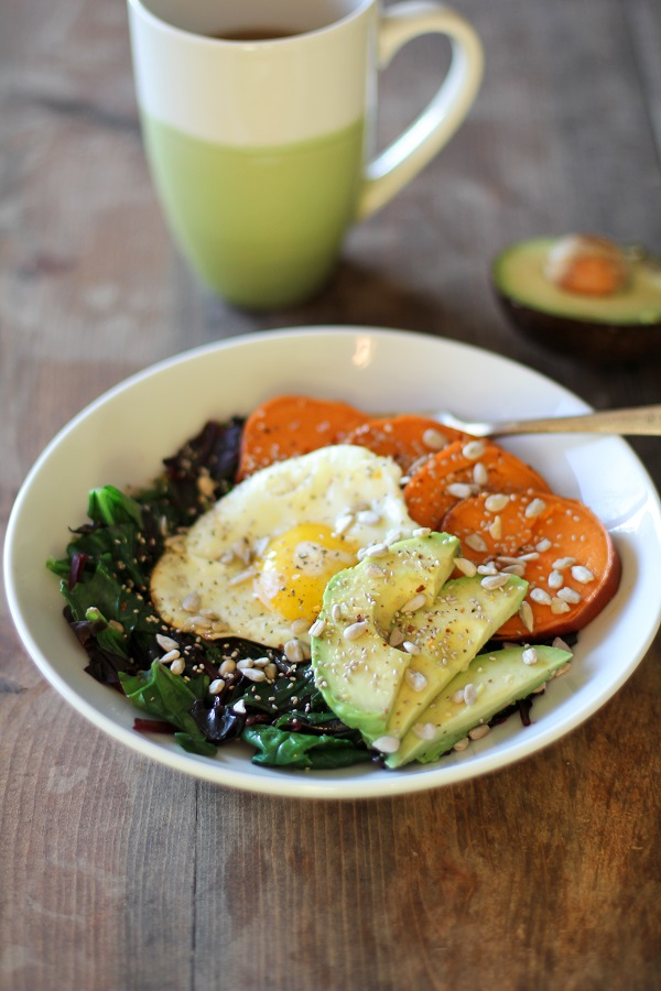 Sweet Potato Breakfast Bowls With Greens And Avocado The