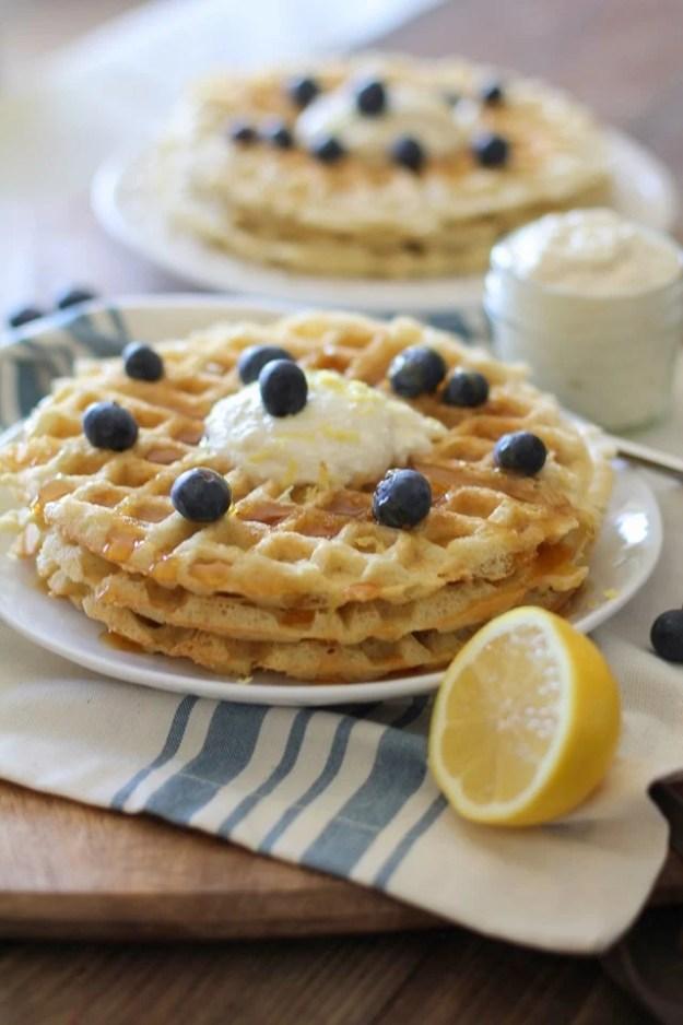 Yeasted Buttermilk Waffles with Honey-Lemon Ricotta   theroastedroot.net #brunch #recipe @redstaryeast