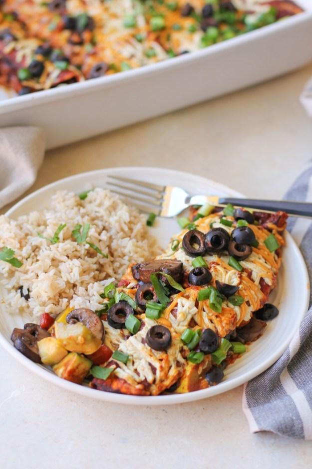Mushroom, Zucchini, and Black Bean Vegetarian Enchiladas | TheRoastedRoot.net #healthy #recipe #dinner #cinco_de_mayo