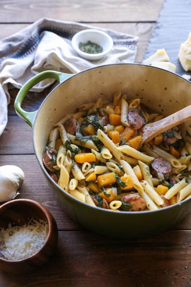 One Pot Butternut Squash and Sausage Pasta | TheRoastedRoot.net #recipe #dinner #glutenfree