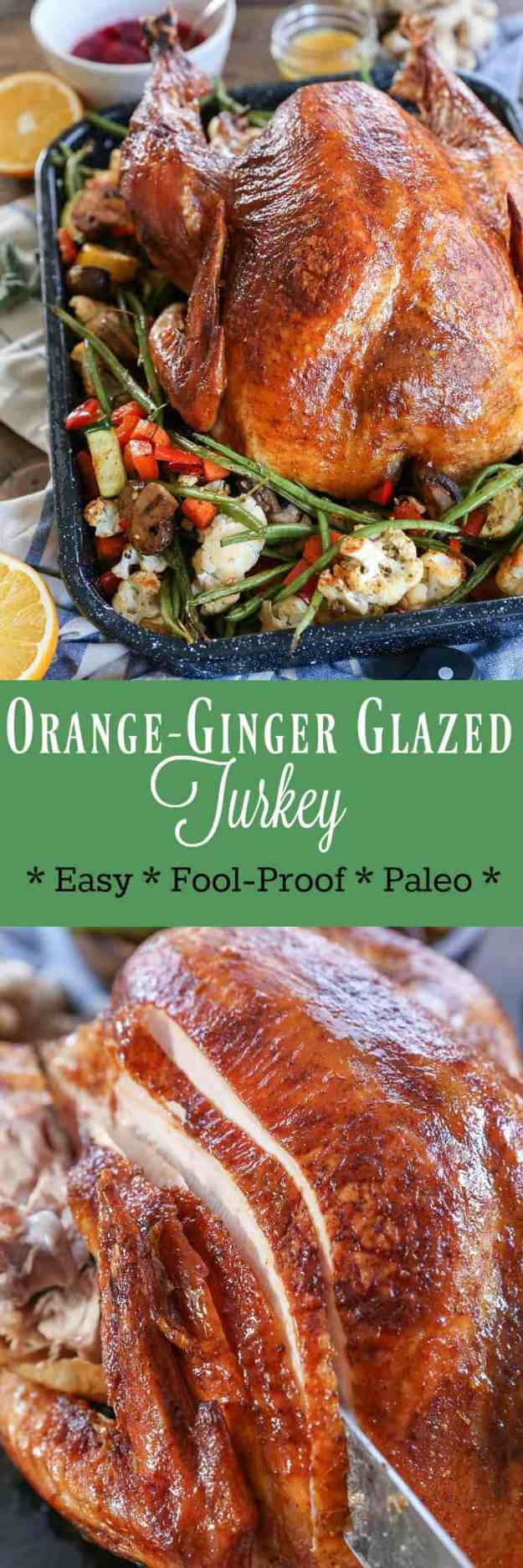 Orange-Ginger Glazed Turkey - an easy, flavorful approach to Thanksgiving Turkey. Paleo, GF, healthy!