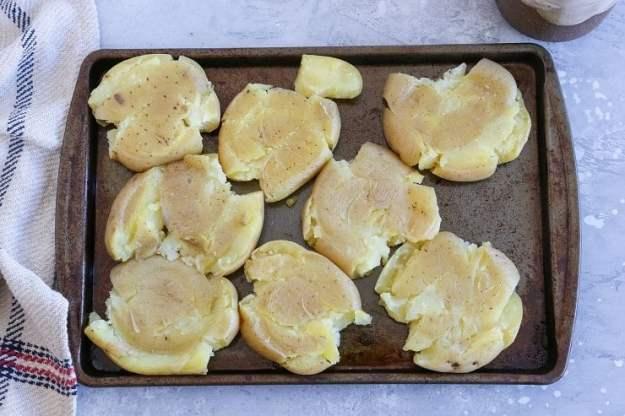 Smashed potatoes process shot