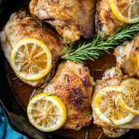 Lemon Rosemary Braised Chicken Thighs