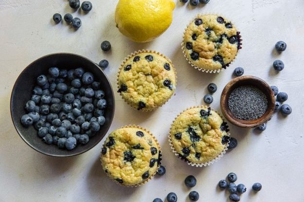 Lemon Poppy Seed Blueberry Coconut Flour Muffins - grain-free muffins made with coconut flour | TheRoastedRoot.net