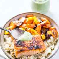 Crispy Salmon with Basil Coconut Milk Sauce (Low-FODMAP)