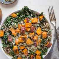 Roasted Sweet Potato Kale Salad with Quinoa