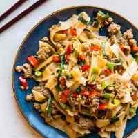 Drunken Noodles (Pad Kee Mao) with Ground Turkey