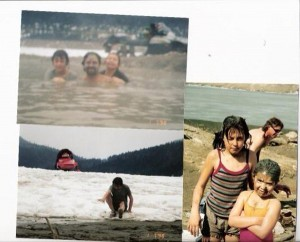 Locals enjoying the Kinbasket hot springs about 15 years ago: Tamika, Shay and Colin Wied.  Submitted by Shay Wied.