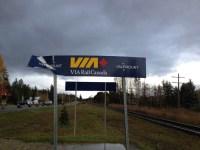 Via Rail Valemount sign