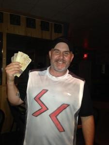 Steve Stapley won $1000 in a rock, paper, scissors contest in McBride last week.