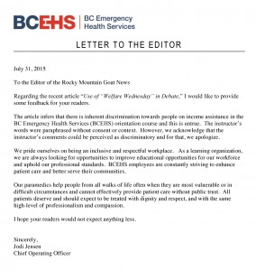 health services letter to editor welfare wednesday