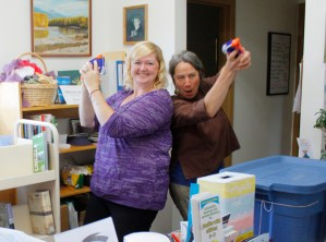 Librarians Martina Wall, and Naomi Balla-Boudreau did their best Charlie's Angels impression—and accidentally fired off a few rounds.