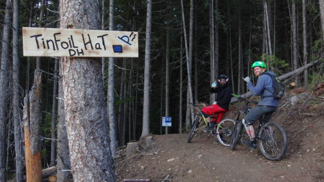 Photo submitted by Steep and Deep Images - Graham Woolsey (far right), gets ready to cruise down Tinfoil Hat, his favourite trail. The trail has over 500 users since Apr. 27th.