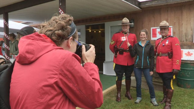 Mounties in red serge were present at the Valemount Museum for photo opps; a potato sack race was one of the highlights of Canada Day in Steve Kolida Park in McBride.