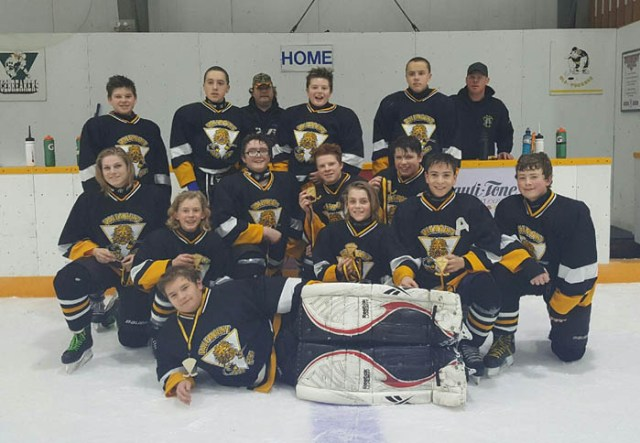 The Valemount-McBride team pose for a championship photo, as they defeated the Edmonton squad 5-2 in the final game. Teams came from Logan Lake, Edson, and Edmonton to play on Nov. 27 & 28 at the Canoe Valley Rec Center.