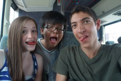 Having fun on the bus