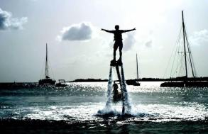 Flyboarding in Circles Around Simpson Bay