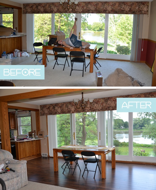 Dining Room Hardwood Floors before and after