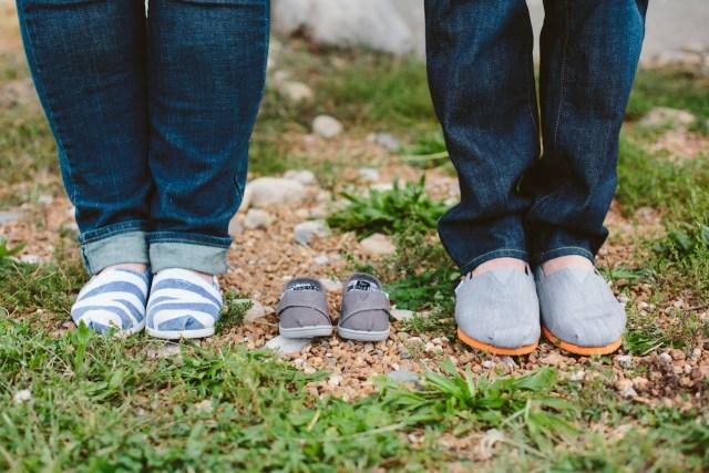 Unique Baby Announcement Photo with toms shoes