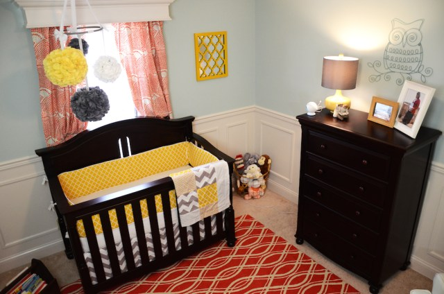 Modern Gender Neutral Baby Nursery Crib and Dresser