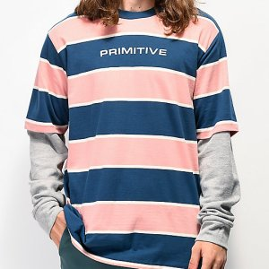 Camiseta Primitive Two Fer Manga Larga Tejido de Punto