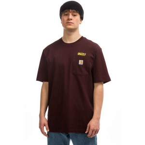 Camiseta Grizzly x Carhart Stamp Work Pocket Burgundi