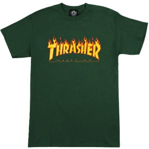 Camiseta Thrasher Flame Logo Forest Green