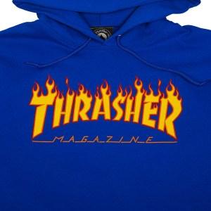 Sudadera Capucha Thrasher Flame Logo Royal
