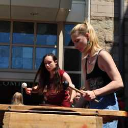 Marimba players entertain the crowds in the courtyard
