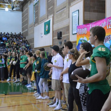 Fall sports captains speak at the assembly