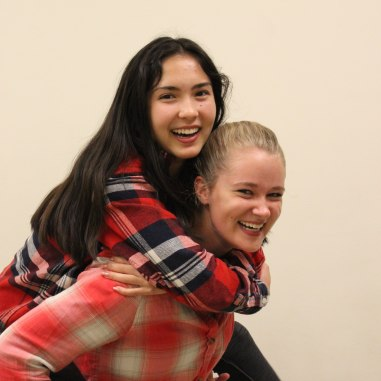 Seniors Julia James and Leigh Kiker wear their flannels for Seattle Day