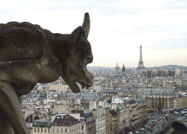 Gargoyle on Top of Notre Dame in Paris