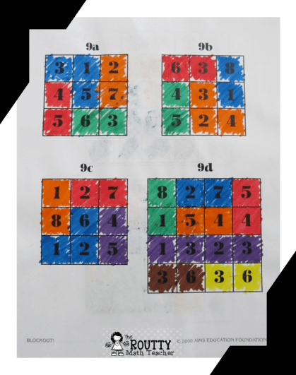 The picture below shows a Blockout Puzzle from AIMS where students shade adjacent boxes  whose sum equals the number above the large square, i.e. 9a, 9b, 9c, or 9d.